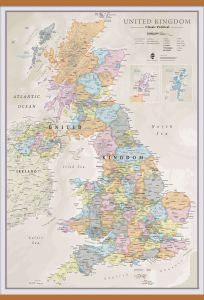 Large UK Classic Wall Map (Wooden hanging bars)