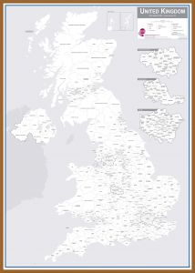 UK Parliamentary Boundary Outline Map (Pinboard & wood frame - Teak)