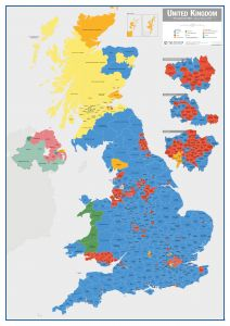 UK Parliamentary Constituency Boundary Wall Map (December 2019 results)