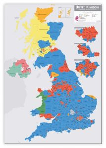 Large UK Parliamentary Constituency Boundary Wall Map (December 2019 results) (Canvas)