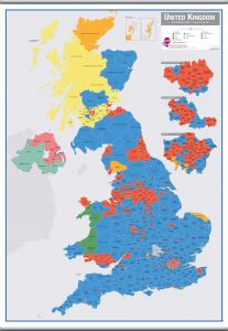 Large UK Parliamentary Constituency Boundary Wall Map (December 2019 results) (Hanging bars)
