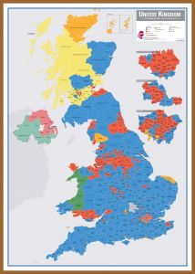 Large UK Parliamentary Constituency Boundary Wall Map (December 2019 results) (Pinboard & wood frame - Teak)