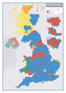 Large UK Parliamentary Constituency Boundary Wall Map (December 2019 results) (Pinboard & wood frame - White)