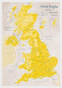 UK as Art Map - Daffodil (Matt Art Paper)