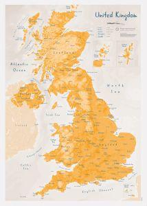 UK as Art Map - Saffron (Matt Art Paper)