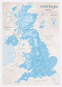 UK as Art Map - Cerulean (Matt Art Paper)
