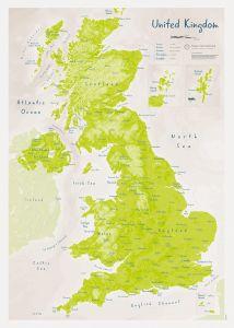 UK as Art Map - Parakeet (Matt Art Paper)