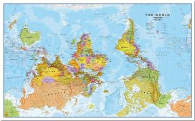 Large Upside Down World Wall Map Political (Pinboard)
