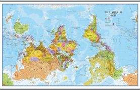 Large Upside Down World Wall Map Political (Hanging bars)