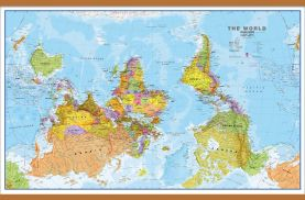 Large Upside Down World Wall Map Political (Wooden hanging bars)