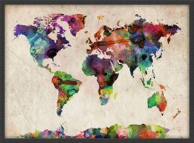 Medium Urban Watercolor Map of the World (Wood Frame - Black)