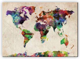 Medium Urban Watercolor Map of the World (Canvas)