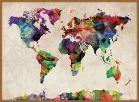 Large Urban Watercolor Map of the World (Wood Frame - Teak)