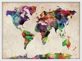Small Urban Watercolor Map of the World (Pinboard & wood frame - White)