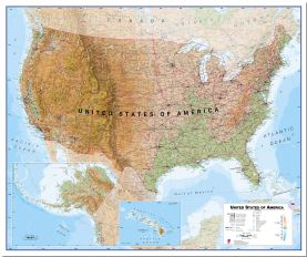 Large USA Wall Map Physical (Pinboard)