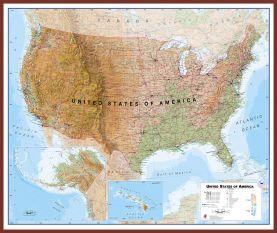 Large USA Wall Map Physical (Pinboard & framed - Dark Oak)