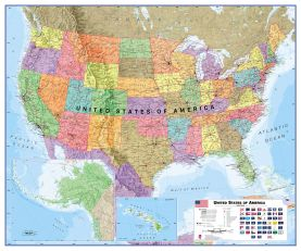Huge USA Wall Map Political (Magnetic board and frame)