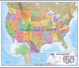 Large USA Wall Map Political (Hanging bars)