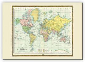 Extra Small Vintage Bartholomew Political World Map 1914 (Canvas)