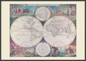 Large Vintage Double Hemisphere World Map 1689 (Wood Frame - Black)
