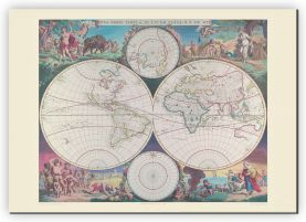 Extra Small Vintage Double Hemisphere World Map 1689 (Canvas)