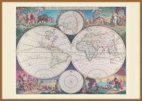 Large Vintage Double Hemisphere World Map 1689 (Wood Frame - Teak)