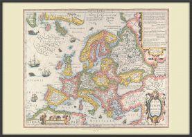 Large Vintage Gerard Mercator Europe Map 1606 (Wood Frame - Black)