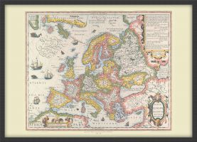 Medium Vintage Gerard Mercator Europe Map 1606 (Wood Frame - Black)