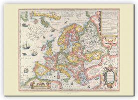 Huge Vintage Gerard Mercator Europe Map 1606 (Canvas)