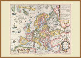 Large Vintage Gerard Mercator Europe Map 1606 (Wood Frame - Teak)