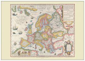 Large Vintage Gerard Mercator Europe Map 1606 (Wood Frame - White)