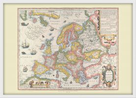 Medium Vintage Gerard Mercator Europe Map 1606 (Wood Frame - White)