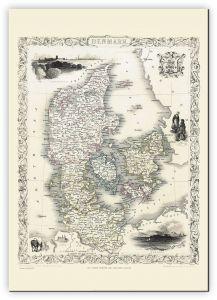 Large Vintage John Tallis Map of Denmark 1851 (Canvas)