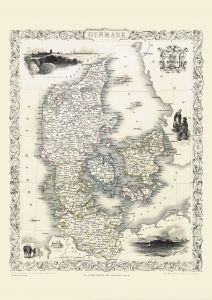 Vintage John Tallis Map of Denmark 1851