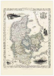Large Vintage John Tallis Map of Denmark 1851 (Pinboard & wood frame - White)
