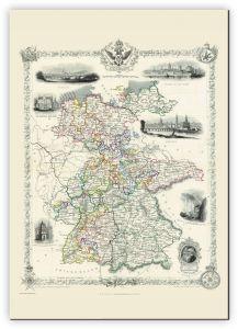 Huge Vintage John Tallis Map of Germany 1851 (Canvas)