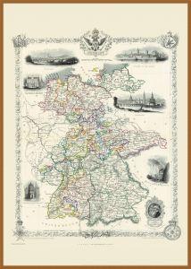 Large Vintage John Tallis Map of Germany 1851 (Wood Frame - Teak)