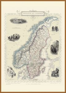 Large Vintage John Tallis Map of Sweden and Norway 1851 (Wood Frame - Teak)