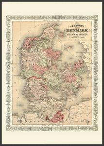 Large Vintage Johnsons Map of Denmark (Pinboard & wood frame - Black)