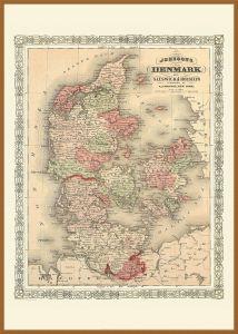 Large Vintage Johnsons Map of Denmark (Wood Frame - Teak)