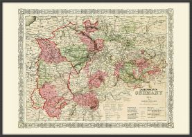 Large Vintage Johnsons Map of Germany No 2 (Pinboard & wood frame - Black)