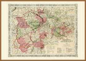 Large Vintage Johnsons Map of Germany No 2 (Wood Frame - Teak)