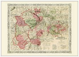 Large Vintage Johnsons Map of Germany No 2 (Pinboard & wood frame - White)