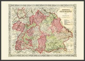 Large Vintage Johnsons Map of Germany No 3 (Pinboard & wood frame - Black)
