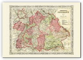 Large Vintage Johnsons Map of Germany No 3 (Canvas)