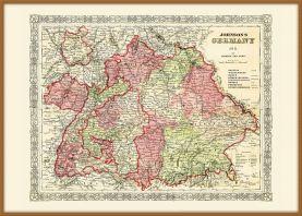 Large Vintage Johnsons Map of Germany No 3 (Wood Frame - Teak)