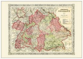 Large Vintage Johnsons Map of Germany No 3 (Pinboard & wood frame - White)