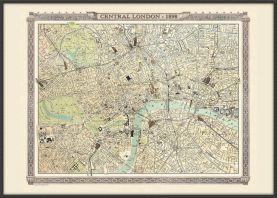 Large Vintage London Map from the Royal Atlas 1898 (Wood Frame - Black)