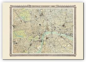 Extra Small Vintage London Map from the Royal Atlas 1898 (Canvas)