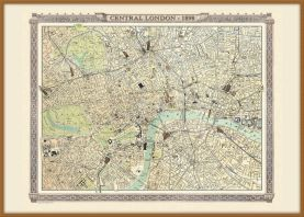 Large Vintage London Map from the Royal Atlas 1898 (Wood Frame - Teak)